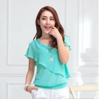 2014 New Fashion Ladies' Formal Casual Ruffle OL Shirt Short Sleeve Vintage Shirts Tops Chiffon Blouse 5 Color S/M/LXL