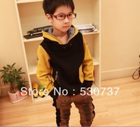 2013-2104 Korean version of the new winter models boys solid color on children thick velvet hooded windbreaker windbreaker