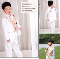 Free shipping boys blazer flower girl children suit formal dress clothes stage clothing set 6pcs:coat+vest+shirt+tie+pants+belt