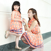 Free Ship Family Fashion Summer Clothes One-Piece Dress for mother or daughter Dot Chiffon  Dress for 2Y to 9Y Girl & Woman