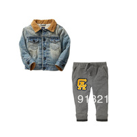Retails, new 2014 baby boys clothing sets for winter children's winter suit denim fur jacket + pants fashion kids winter