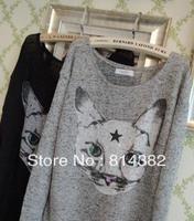 Free Shipping New 2014 Women Sweater O-Neck Fashion Cat Printed Knitting Women Clothing Cotton Spandex Plus Size Grey Black