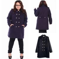LS1024 New 2013 Fat Women Double Breasted Winter Autumn Wool Coat Ladies Big Plus size Trench Overcoat Jacket Outwear XL XXL 3XL
