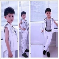 Free shipping High-quatity rock performance costume formal dress kids blazer boys wedding suit children clothing set