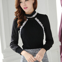 Autumn and winter turtleneck blazer basic shirt female lace slim basic t-shirt