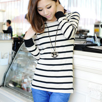 Autumn new arrival blazer basic shirt female stripe slim plus size placketing basic t-shirt