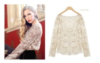 Women's Semi Sheer Sleeve Embroidery Top Tshirt Plus Size Sexy Club Lace Floral Crochet Blouse Shirt