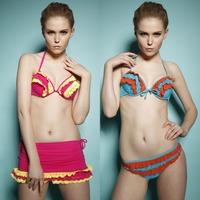 Freeshipping bohemian ethnic stripes geometry hand-embossed ruffled  sexy vintage bikini set swimwear 3065 Swimsuit