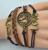 One direction bracelet fashion Handcuffs Love Clock vintage bracelet  JZ-088