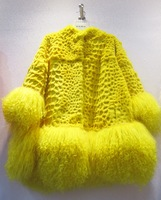 Winter fur picao beach wool rabbit fur patchwork medium-long fashion outerwear women's