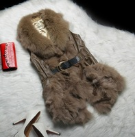 Genuine leather fur 2013 sheepskin vest women's vest slim medium-long fox fur
