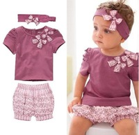 Free shipping Baby Clothes cotton Baby Clothing Set so beautiful kids headband + top + short pants baby wear