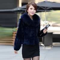 2013 women's fur full leather rex rabbit hair picao slim blue fox fur