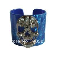 New Quality Resin Skull Crystal punk bracelet Fashion arm cuff bangle 4 colors Wholesale/retail