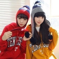 South Korean female winter hat wool hat knitted striped ovo ball ear hat female winter warm autumn and winter