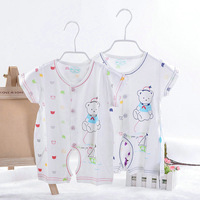 Freeshipping Summer bear romper open file baby short-sleeve bodysuit baby supplies bb short-sleeve romper their