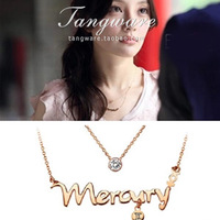 Titanium necklace female letter lovers 18k rose gold color gold