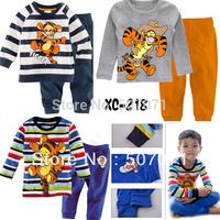 Wholesale Baby Long sleeves pajamas sets baby sleepwear tiger baby boy;s pajama suits size 2Y-7Y 3styles 6sets