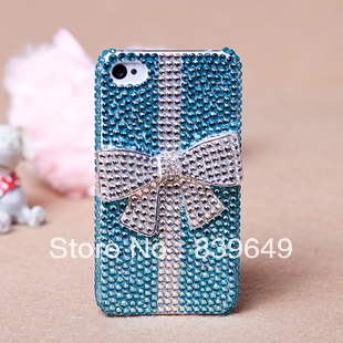 Free shipping Handmade Bling crystal Rhinestone case cover for iPhone 5 5s 5c sparkle blue crystal w 3d bow protective case(China (Mainland))