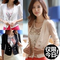 Autumn female slim suit blazer short jacket chiffon lace patchwork ol elegant women's short jacket