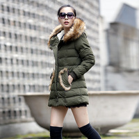 2013 winter Women cotton-padded jacket female fashion medium-long cotton-padded jacket berber fleece wadded jacket