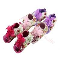 Fashion Rose Flower Baby Toddler Kids Princess Silk Ribbon Lace Up High Shoes