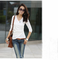 2013 autumn and winter women knitted top shirt 100% V-neck tight cotton basic shirt slim t shirt long-sleeve long johns