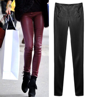 2013 fashion leather pants slim casual trousers tight pencil pants female PU skinny