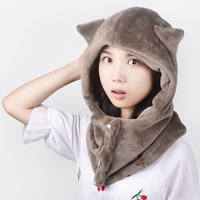 Flowers in autumn and winter thermal cartoon animal plush scarf muffler hat one piece cap dual