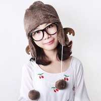 Flowers in autumn and winter thermal cartoon animal pocket female hat plush ball ear protector cap