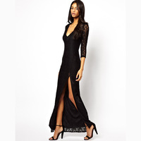 Female black lace double layer single placketing dress deep V-neck long-sleeve lace one-piece dress