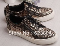 Latest Style Fashion Gold Snakeskin Men Lace-Up Sneakers Zipper Men Leather Street Flat Leisure Shoes Autumn Sport  Sneakers
