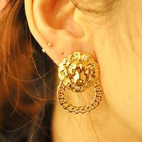 Promotion! Wholesale!  Fashion lady women jewelry vintage alloy lion head stud earrings ER420