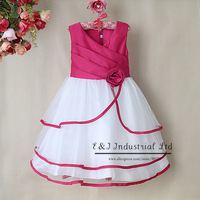 Fashion Baby girl Christmas Dress Top grade Dress Fold v-neck dress for kid girl cotton and polyester dress clothesGD31115-12