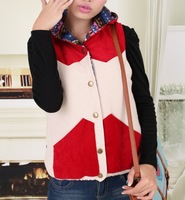 Autumn new arrival 2013 sweet all-match patchwork hooded wadded jacket vest outerwear