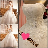 wedding dress crystal  2013 sparkling sexy wedding dress bandage tube top train wedding dress bride