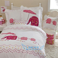Girl cartoon 100% cotton embroidery childbedding set