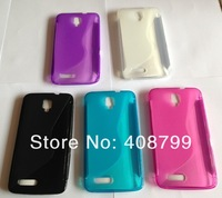 Free Shipping by HK Post S line Wave Shape Soft TPU Case for Alcatel One Touch Scribe HD OT-8008D OT 8008D
