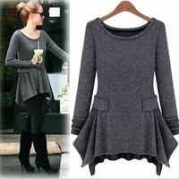 Autumn 2013 new European and American women's Slim thin long-sleeved round neck dress skirt big yards knitting backing