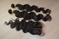 Free shipping 6A Peruvian virgin hair body wave: 1 pcs middle Lace top closure with 2pcs Hair Bundle extension. 3pcs/lot