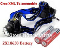 FREE Post CREE XM-L T6 LED Headlamp/ Bike light 1600 Lumens Zoomable Tactical Head Lamp + 2pcs 18650 Battery + Charger