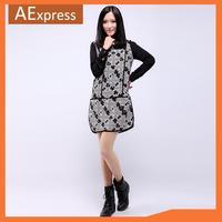 2013 New Arrival Fashion Autumn Winter Slim Loose Long Sleeve Spliced Snowflakes Pattern Women Vintage Dress, 2025