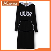 2013 New Arrival Fashion Autumn Winter Fleece Thick Long Sleeve Hooded Women Dress with Big Pocket, 2019