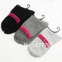 Women Socks NO Brand Casual Dot Cotton Knee-hight  Fashion women Free Shipping  1lot=12pair Wholesale Store227735 Hot sale