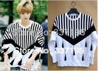 2013 brand design black and white woman&man's fashion sweatshirt LU HAN striped batwing long-sleeve t-shirt jacket street