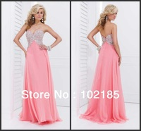 Quality Made China Supplier Elegant V-neck Sleeveless Prom Dress 2014 Evening Dresses From Dubai D008