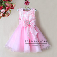 2014 Arrival Baby girl Christmas Dress flower Dress with bow Howllow and plaid Dress cotton and polyester dress GD31115-20
