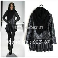 Free shipping 2013 new winter women's catwalk models PU leather Jacket detachable hem chic design 1279