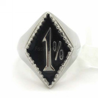 Free Shipping Gothic Silver Tone Stainless Steel Unique Designer 1% Finger Ring, Men's Boy's Fashion New 2013 Jewelry Gift
