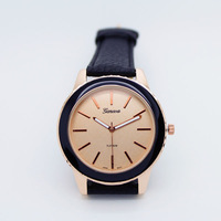 Free shipping,Top Quality,Brand New Promotion Geneva Black watches Unisex Fashion Leather Watch For Ladies Women Quartz Watches